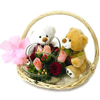2 Teddies (6 inches each) with 8 pink and red roses in a Basket