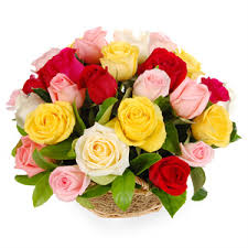 24 Mix roses basket