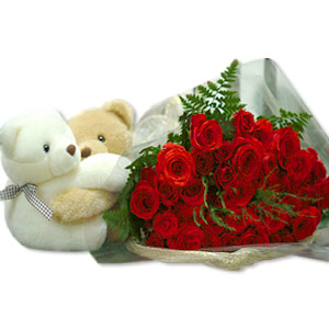 2 Teddies 6 inches each with 6 red roses