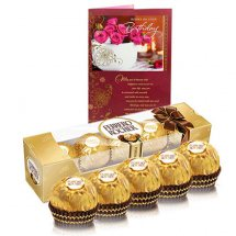 5 Ferrero rocher chocolates and Card