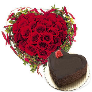 1 Kg Heart Cake+ 25 Red Heart Roses