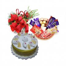 Half Kg Pineapple Cake with small chocolate basket and 6 Red roses