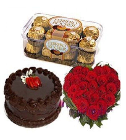 1/2 Kg chocolate Cake 24 red roses Heart 16 Ferrero chocolates