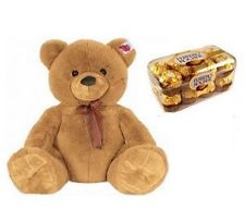 12 Inches brown Teddy with 16 ferrero