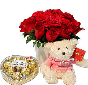 12 Red roses Teddy 6 inches and Heart chocolate box