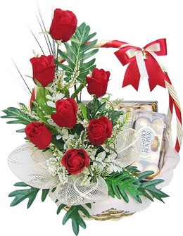 6 Red Roses and 16 Ferrero Rocher in same Basket