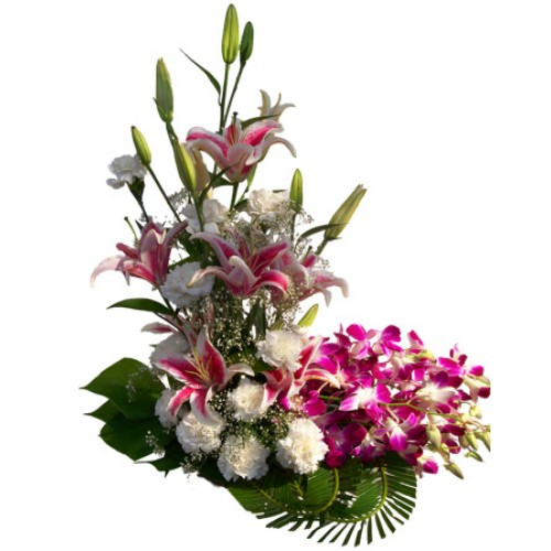 6 pink lilies 6 white carnations 4 Purple orchids in basket