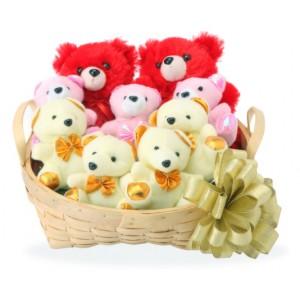 9 Teddies in a basket