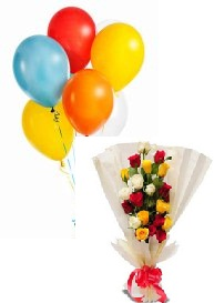 6 Air Blown Balloons with 12 Mix roses