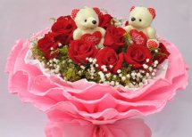 12 Red Roses 2 Teddies in same bouquet