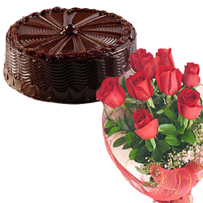 1/2 Kg 5-star Chocolate Cake with 12 red roses