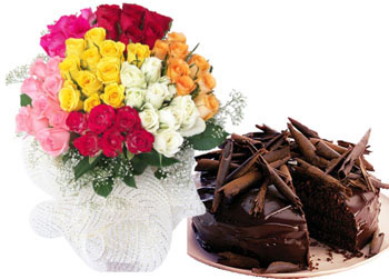 1/2 Kg Cake+ 24 Mix roses Bunch