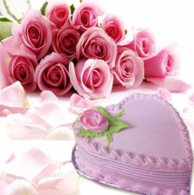 12 Pink roses bouquet with 1 Kg Strawberry heart cake