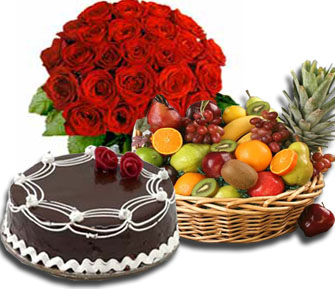 2 Kg Fruits 12 red roses and 1/2 kg chocolate Cake