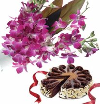 Midnight 1/2 Kg chocolate cake 10 Orchid bouquet
