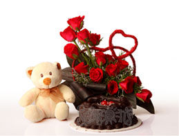 12 Red roses basket 1/2 Kg 5-star chocolate Cake Teddy