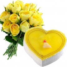 Midnight delivery of 12 Yellow roses with 1/2 Kg Lemon cake