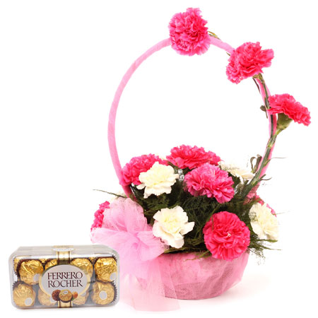 12 pink white carnation in handle basket 16 ferrero rocher chocolates
