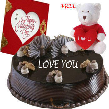 1/2 Kg chocolate cake, Teddy and Card
