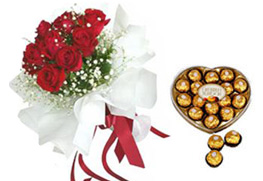 12 Red Roses and Heart shaped Chocolate Box