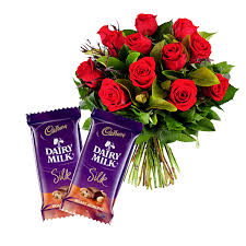 12 red roses bouquet 2 small cadburys Silk chocolates