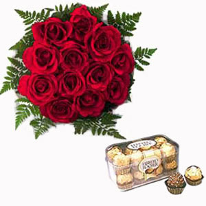 Ferrero Rocher (16 pcs) and 12 red Roses Bouquet