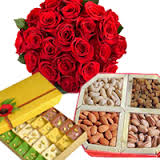 12 red roses 1/2 kg dryfruits box 1/2 Kg mix mithai