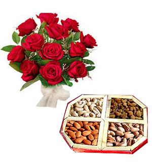 1/2 kg Dry fruits and 12 red roses