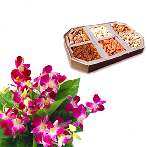 1/2 Kg Dry Fruit 6 purple Orchids bouquet