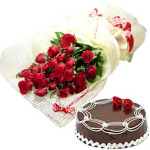 1 Kg chocolate Cake+ 12 red roses Bunch
