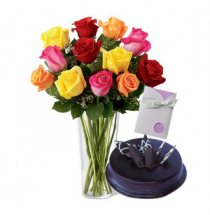 12 Mix roses vase Card and 1/2 kg dark chocolate cake