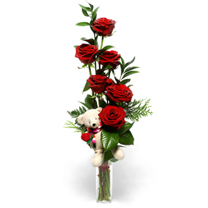 6 Red roses in a vase with 6 inches Teddy bear