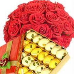 1/2 kg mix mithai 12 red roses
