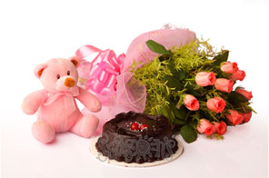 Pink Teddy 6 inches +12 Pink Roses + 1/2 Kg chocolate Cake