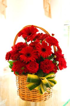 6 red roses with 6 Red gerberas Arrangement