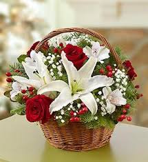 Red roses with White Lilies in a basket