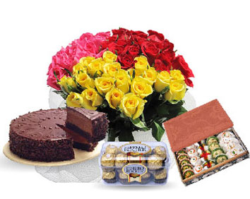 16 Ferrero chocolates 1/2 Kg Mithai 1/2 kg chocolate cake 24 mix roses bouquet
