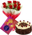 12 Red roses bouquet with Cadburys celebration box and 1/2 Kg Black forest cake