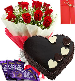 1 Kg heart shaped chocolate Cake 8 Red roses with Card and 4 Dairy milk chocolates