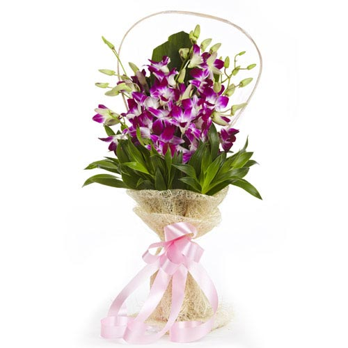 10 Purple Orchids bouquet