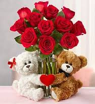 12 red roses with 2 teddies