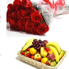 2 Kg fresh fruits +12 red Roses in Hand Bunch
