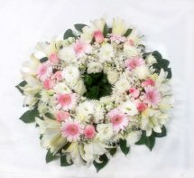Pink and White Flowers Wreath