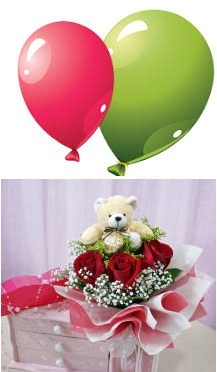 2 Air Balloons 6 inches Teddy 3 red roses in same basket