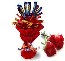 10 Cadburys chocolate bouquet with 3 Red roses