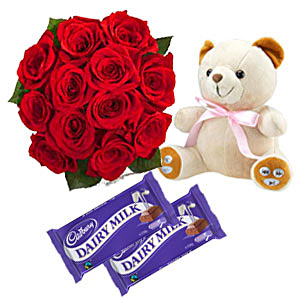 2 Dairy Milk chocolates 12 red roses Teddy 6 inches