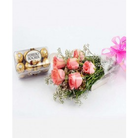 6 Pink roses bouquet with 16 Ferrero