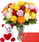 18 Mix roses bouquet with 6 Inches Teddy bear and Card