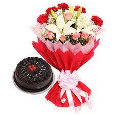 Half Kg Chocolate Cake 5 Pink roses 5 Red carnations 2 white lili
