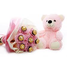 5 Ferrero rocher bouquet in pink wrap with Teddy 6 inches in pink